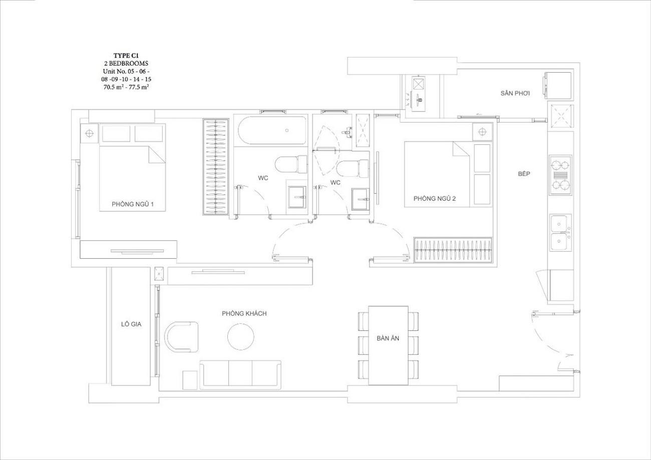 Thiết kế căn hộ 2 phòng ngủ tại Ascent Garden Homes