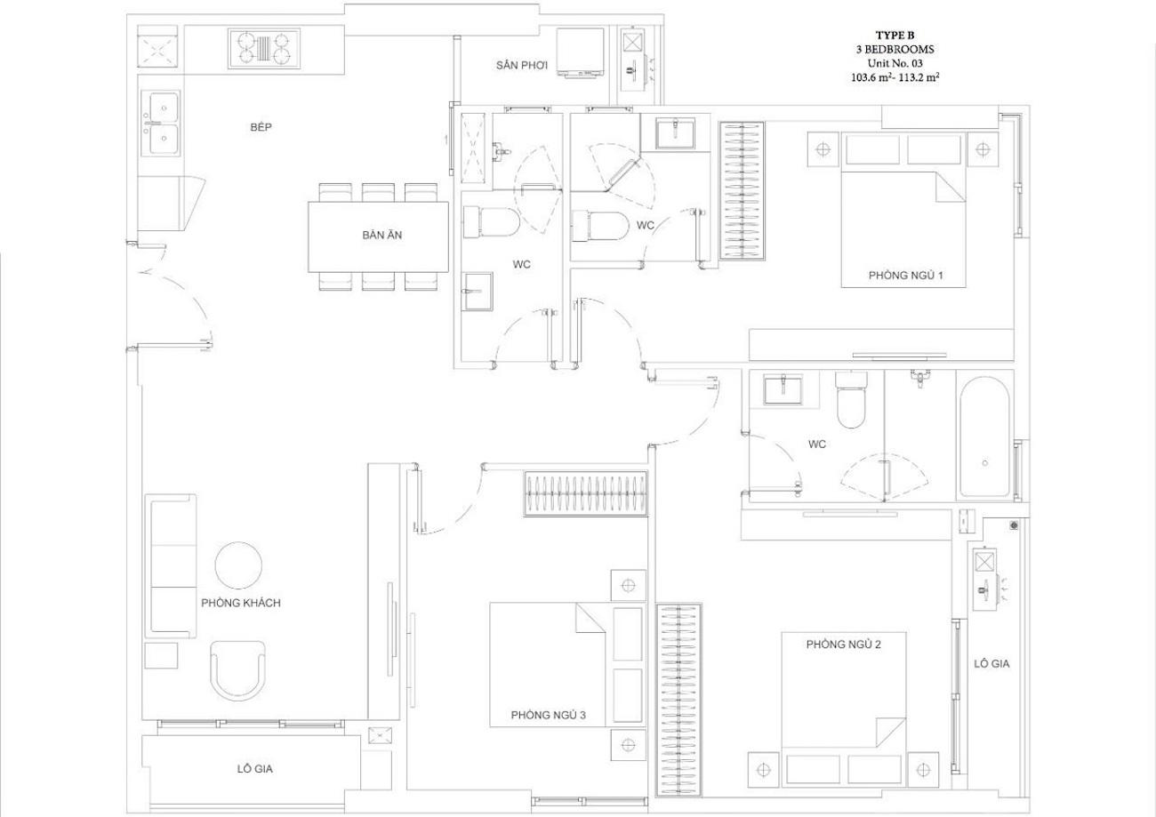 Thiết kế căn hộ 3 phòng ngủ tại Ascent Garden Homes