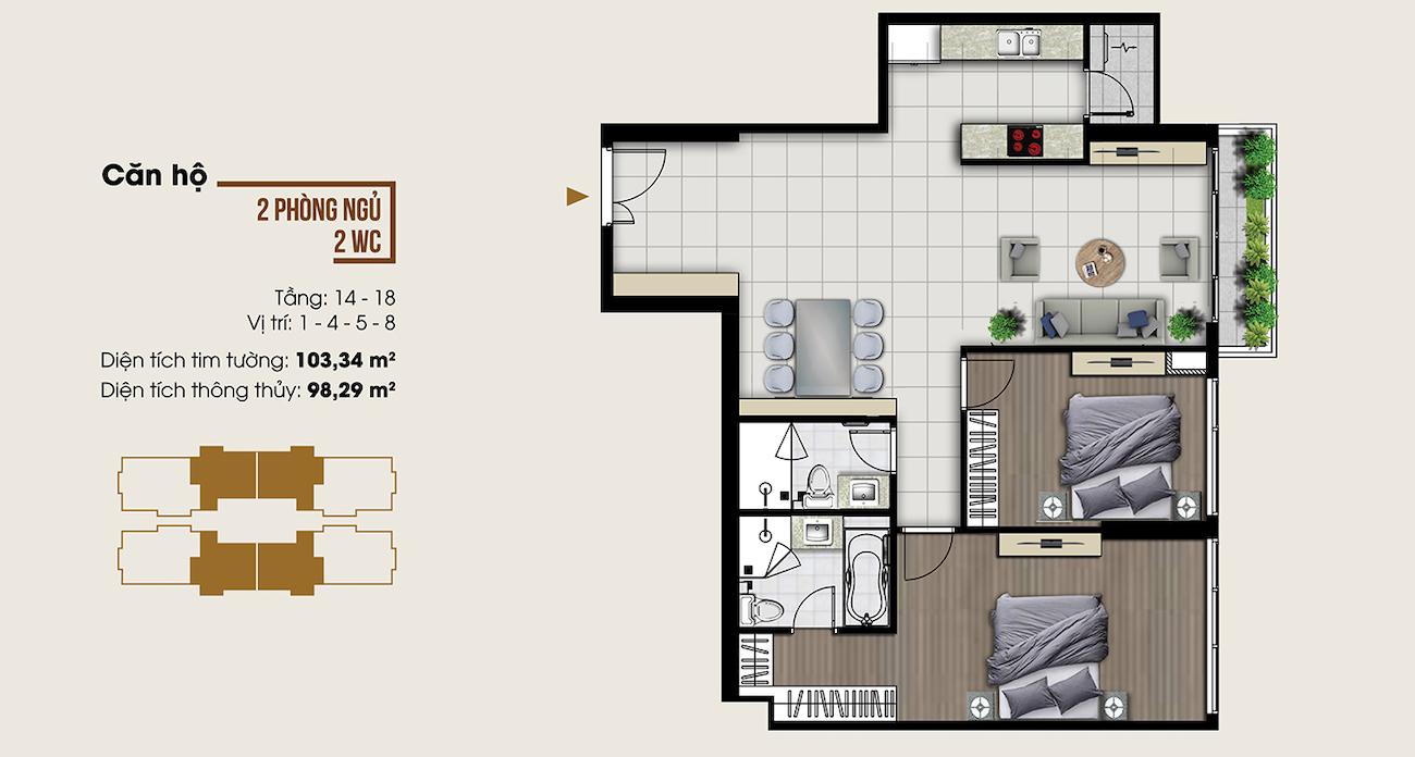 Thiết kế căn hộ 103 m2 tại Ascent Lakeside
