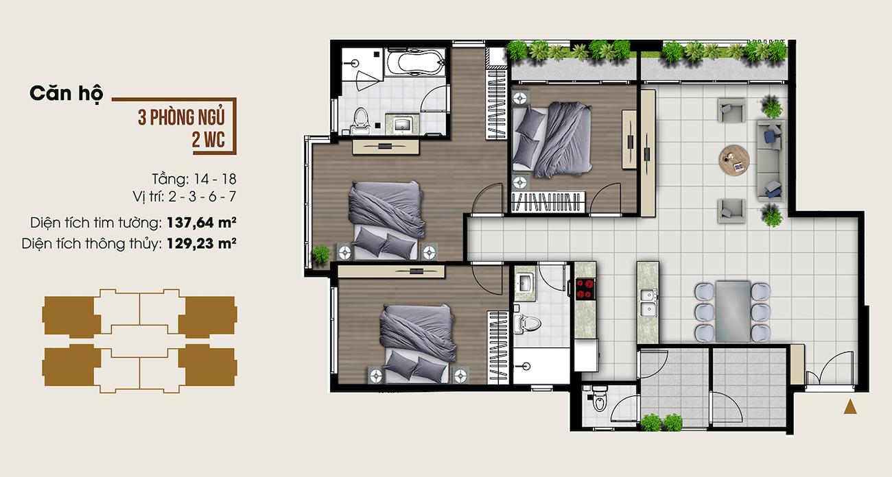 Thiết kế căn hộ 137 m2 tại Ascent Lakeside