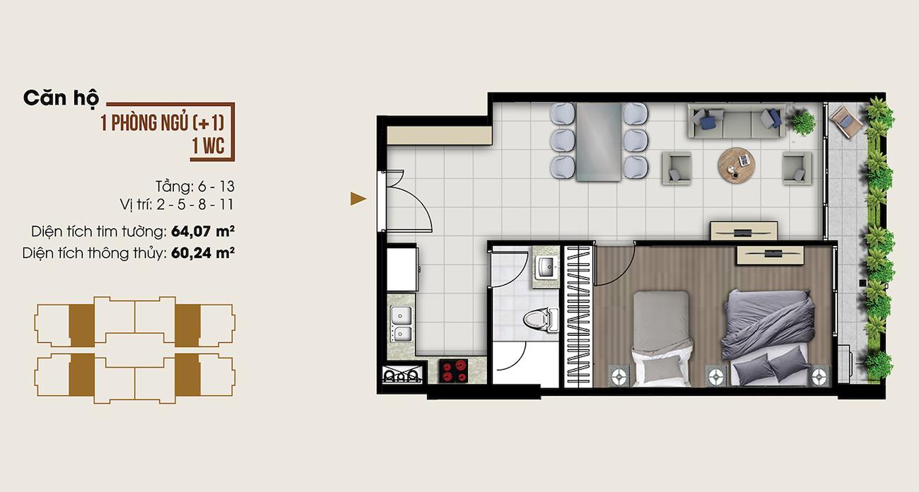 Thiết kế căn hộ 64 m2 tại Ascent Lakeside