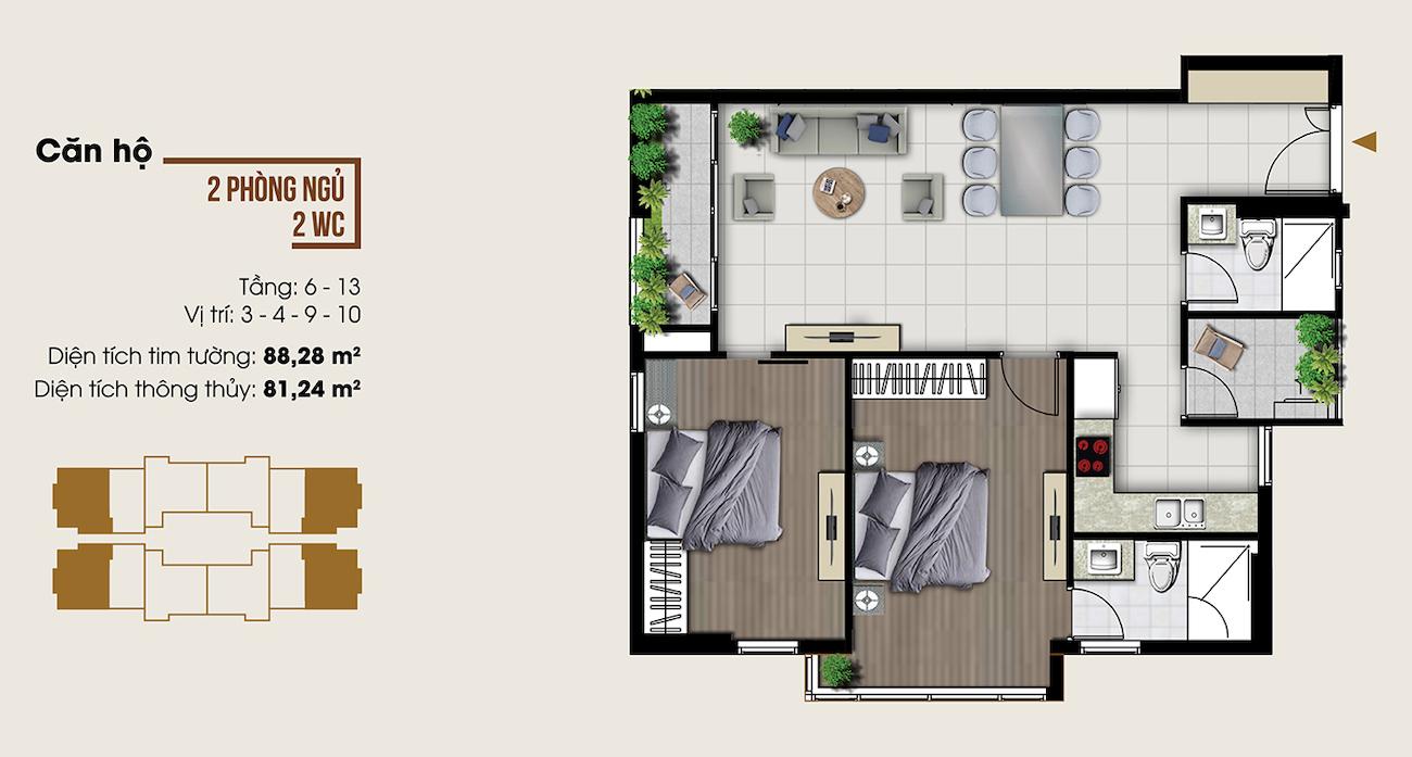 Thiết kế căn hộ 88 m2 tại Ascent Lakeside