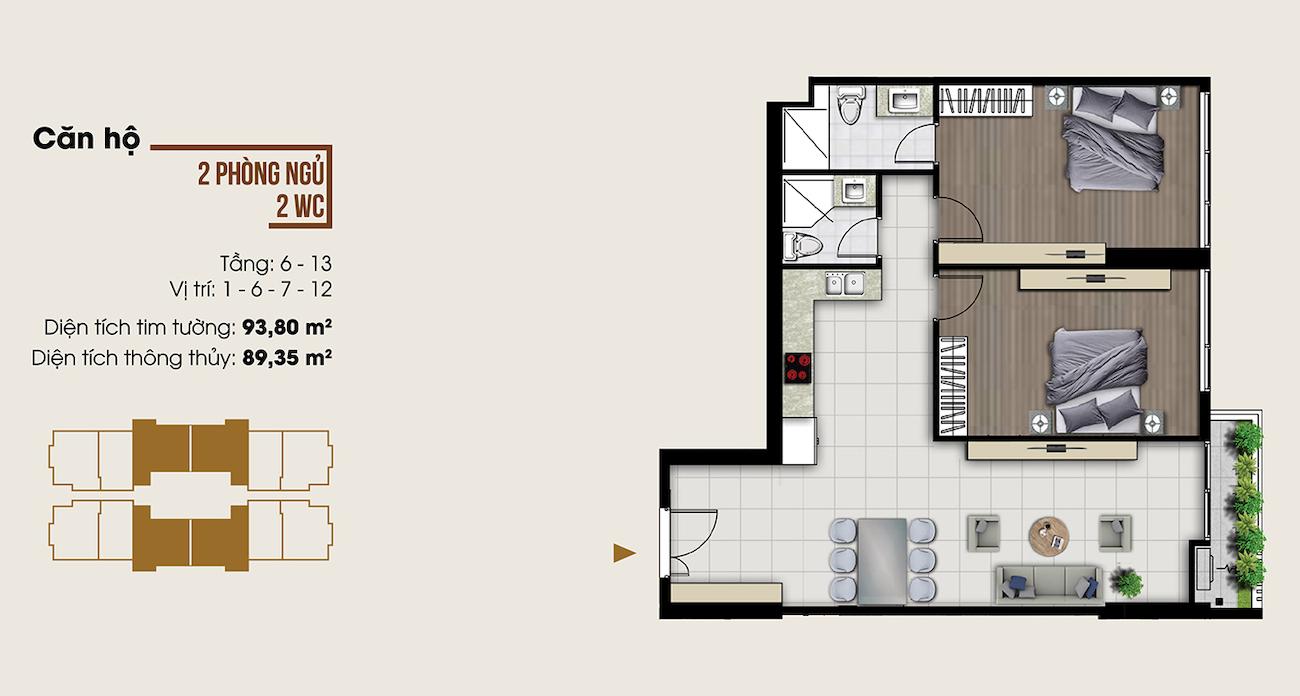Thiết kế căn hộ 93 m2 tại Ascent Lakeside