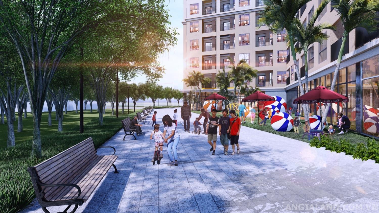 Tiện ích công viên cây xanh, phố đi bộ dự án Bcons Green View
