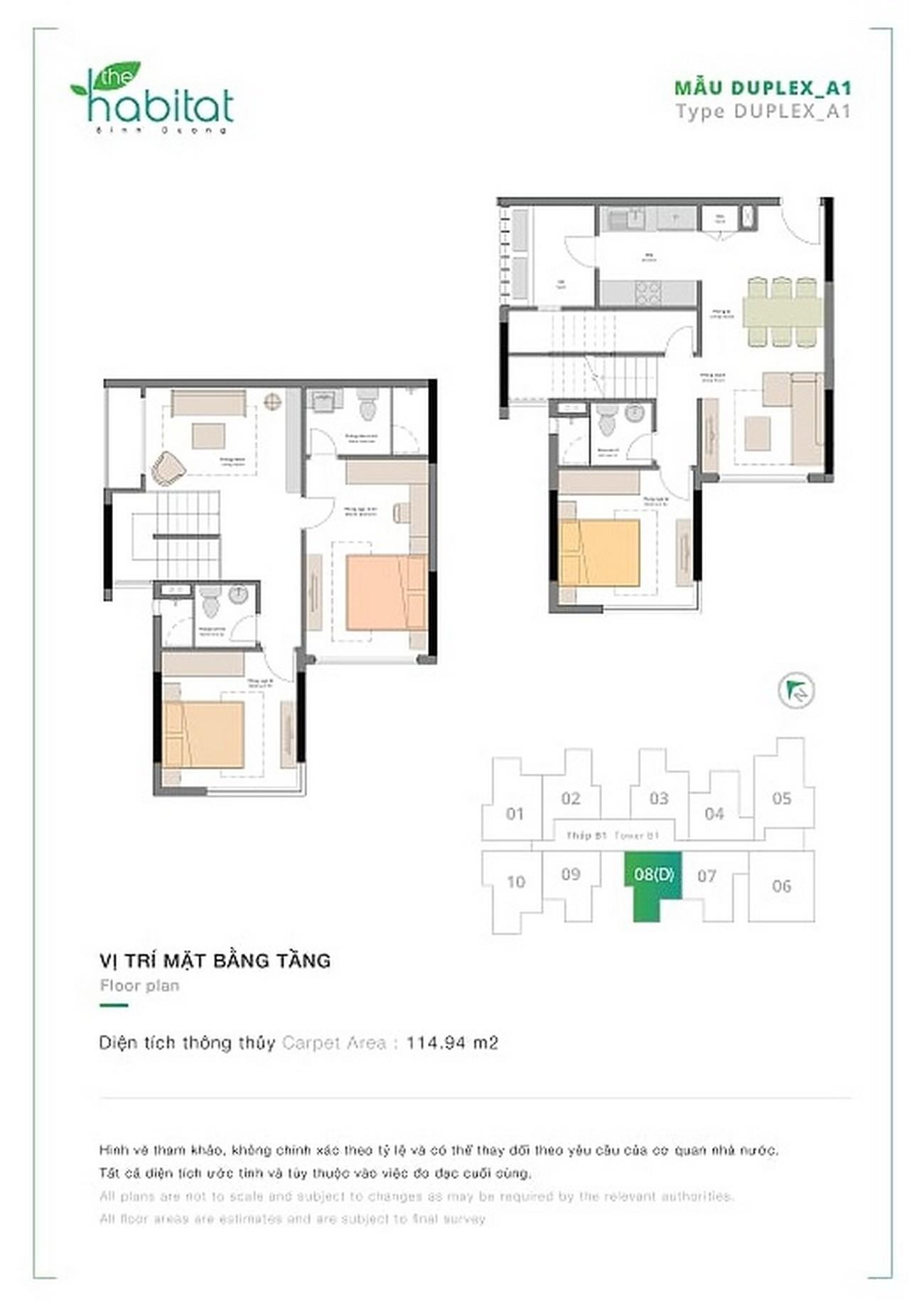 Mặt bằng dự án căn hộ chung cư Habitat Thuận An Đường Hữu Nghị chủ đầu tư VSIP Sembcorp Gateway