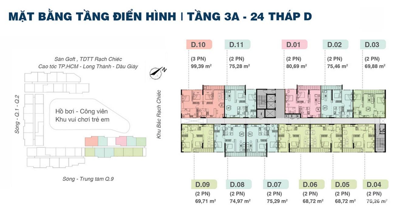 Mặt bằng dự án căn hộ chung cư Jamila Khang Điền Đường Song Hành chủ đầu tư Khang Điền Quận 9