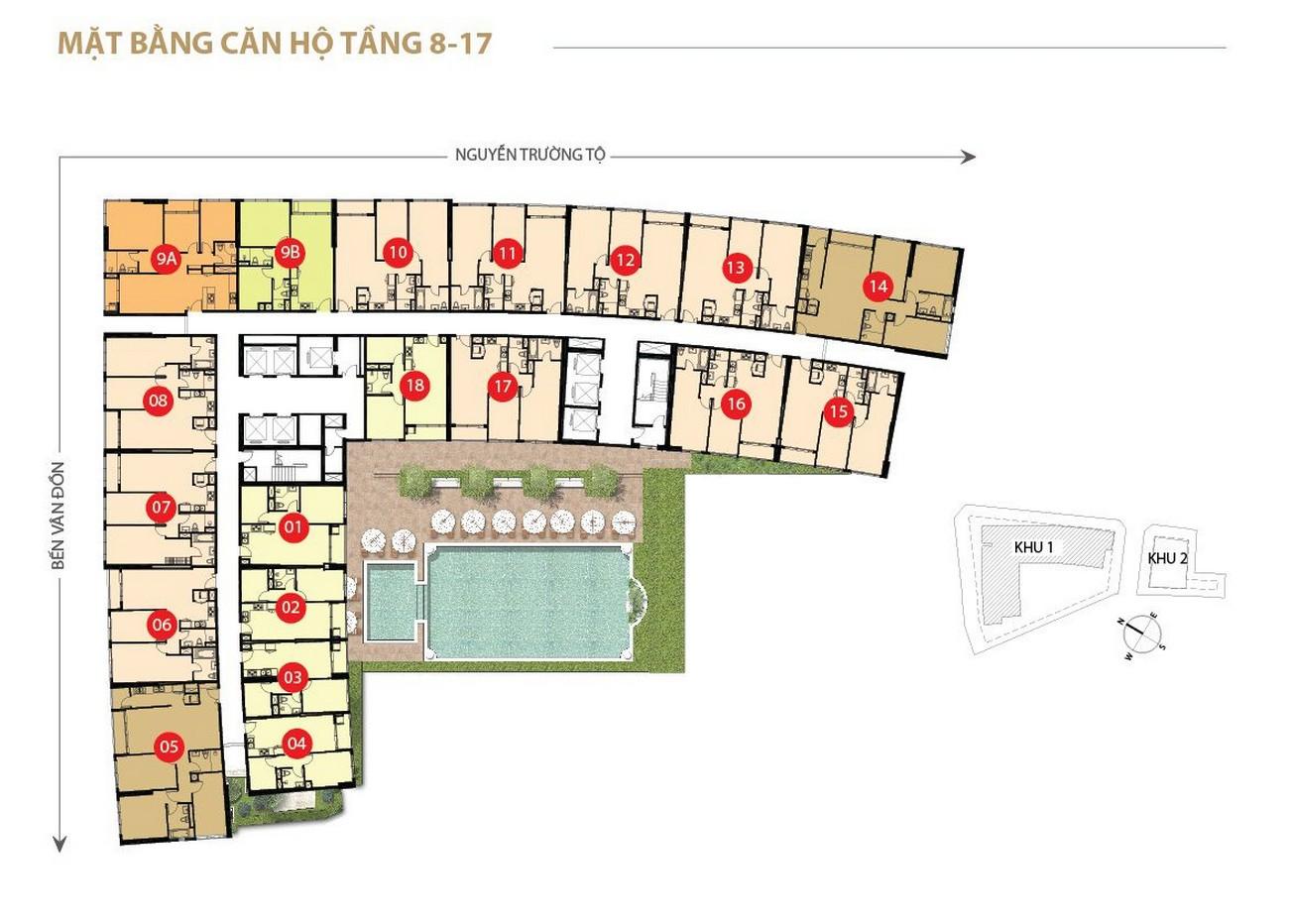 Mặt bằng dự án căn hộ chung cư Saigon Royal Quận 4 Đường Bến Vân Đồn chủ đầu tư Novaland