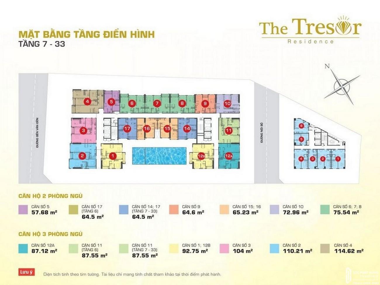 Mặt bằng dự án căn hộ chung cư The Tresor Quận 4 Đường Bến Vân Đồn chủ đầu tư Novaland