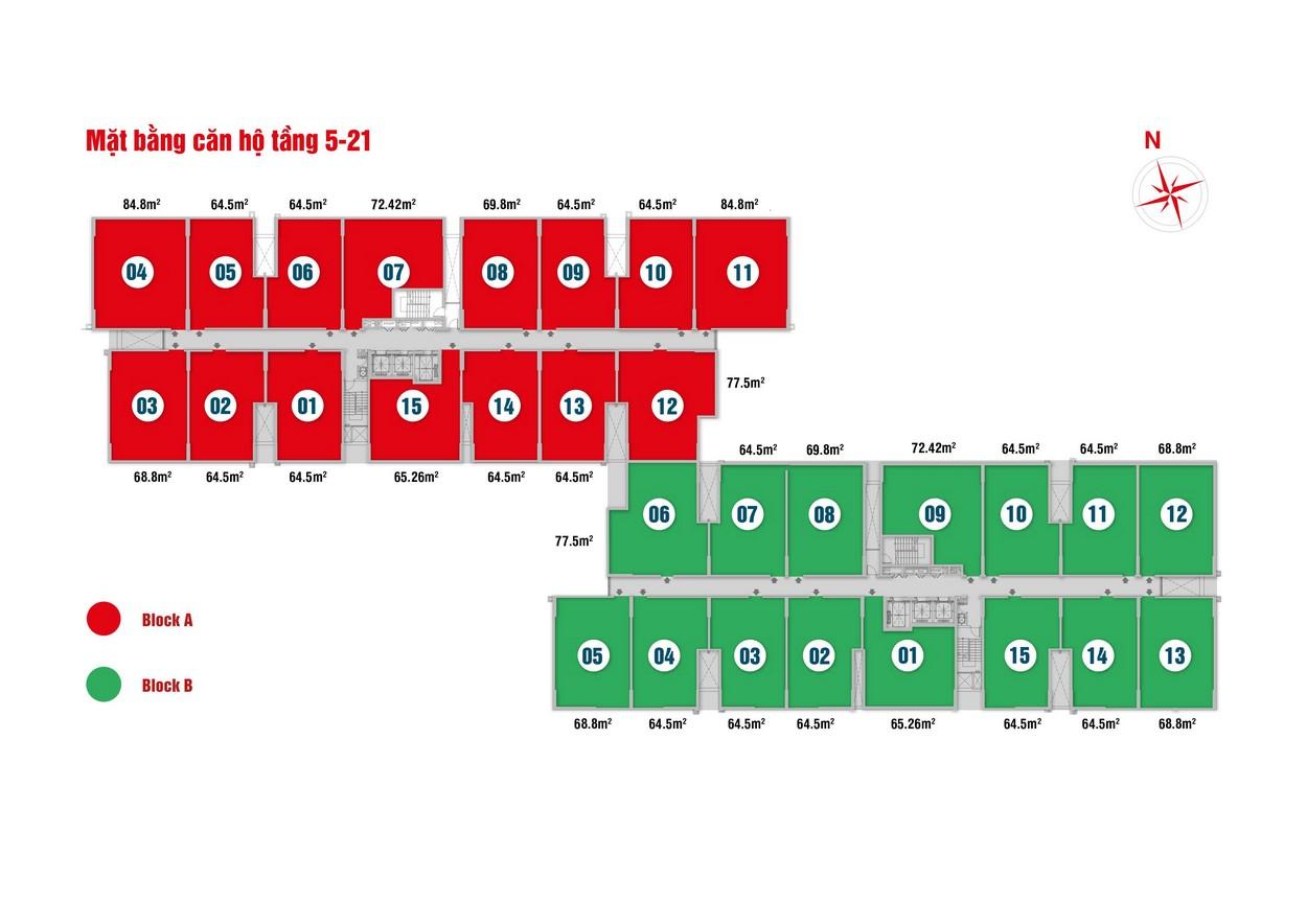 Mặt bằng chi tiết tầng 5-21 căn hộ chung cư High Intela Quận 8
