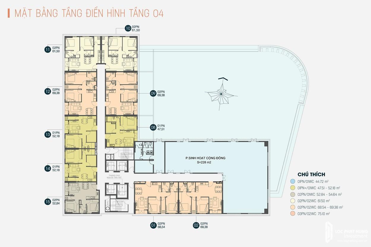 Mặt bằng tầng 4 dự án Căn Hộ chung cư Viva Plaza Quan 7 Đường Nguyễn Lương Bằng\