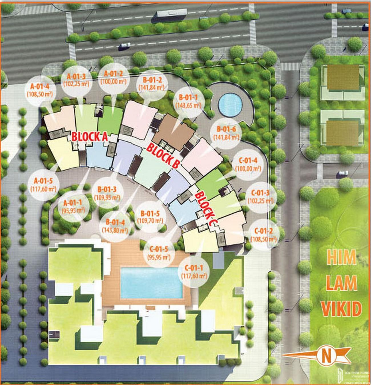 Mặt bằng dự án căn hộ Him Lam Riverside quận 7