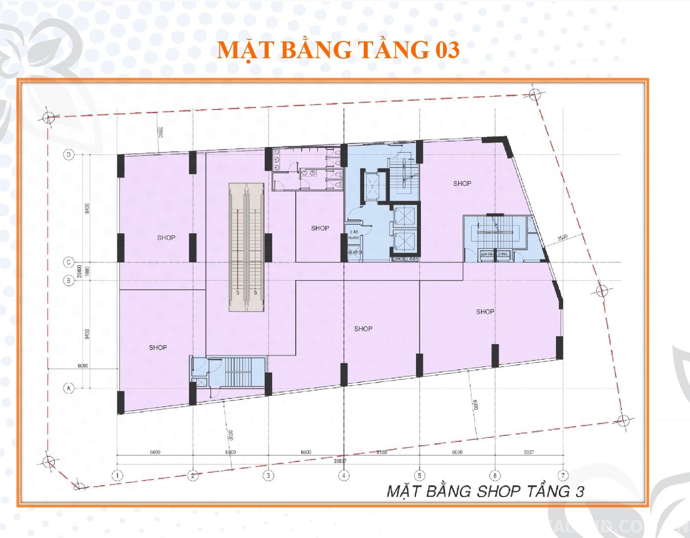 Mặt bằng tầng 3 dự án Bella Plaza