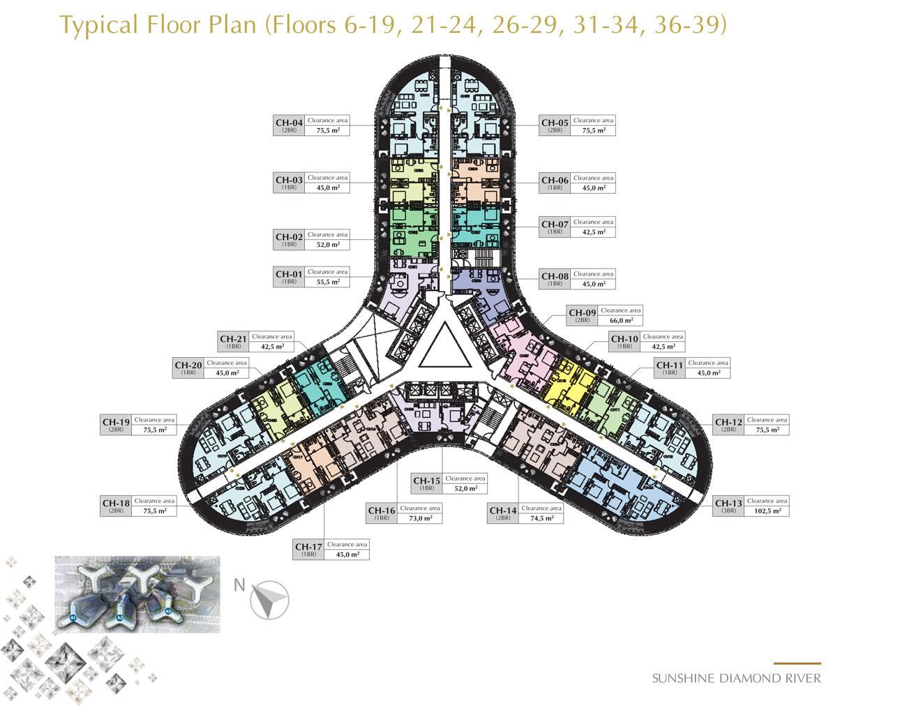 Mặt bằng chi tiết tầng A3 dự án căn hộ Sunshine Diamond River Quận 7 đường Đào Trí
