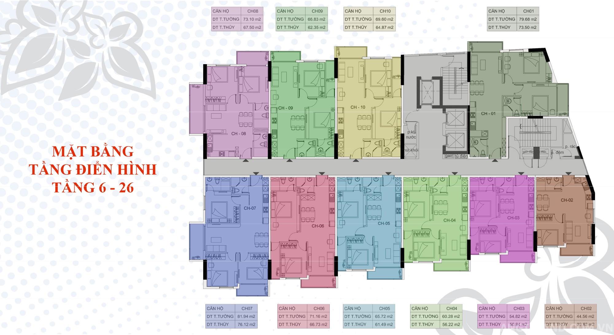 Mặt bằng tầng điển hình dự án Bella Plaza