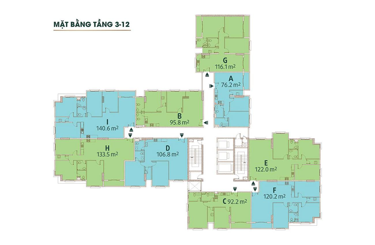 Mặt bằng tầng dự án căn hộ Golden Grand Quận 2