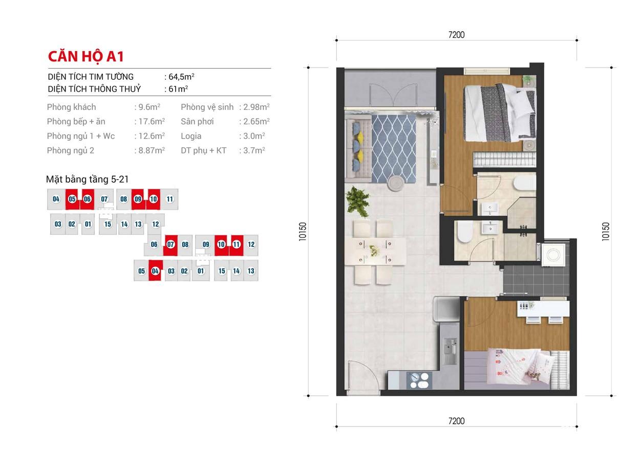 Thiết kế chi tiết căn hộ Block B số: 04,06,10,11,14 Block A số :05,06,09,10 diện tích xây dựng 64.5m2
