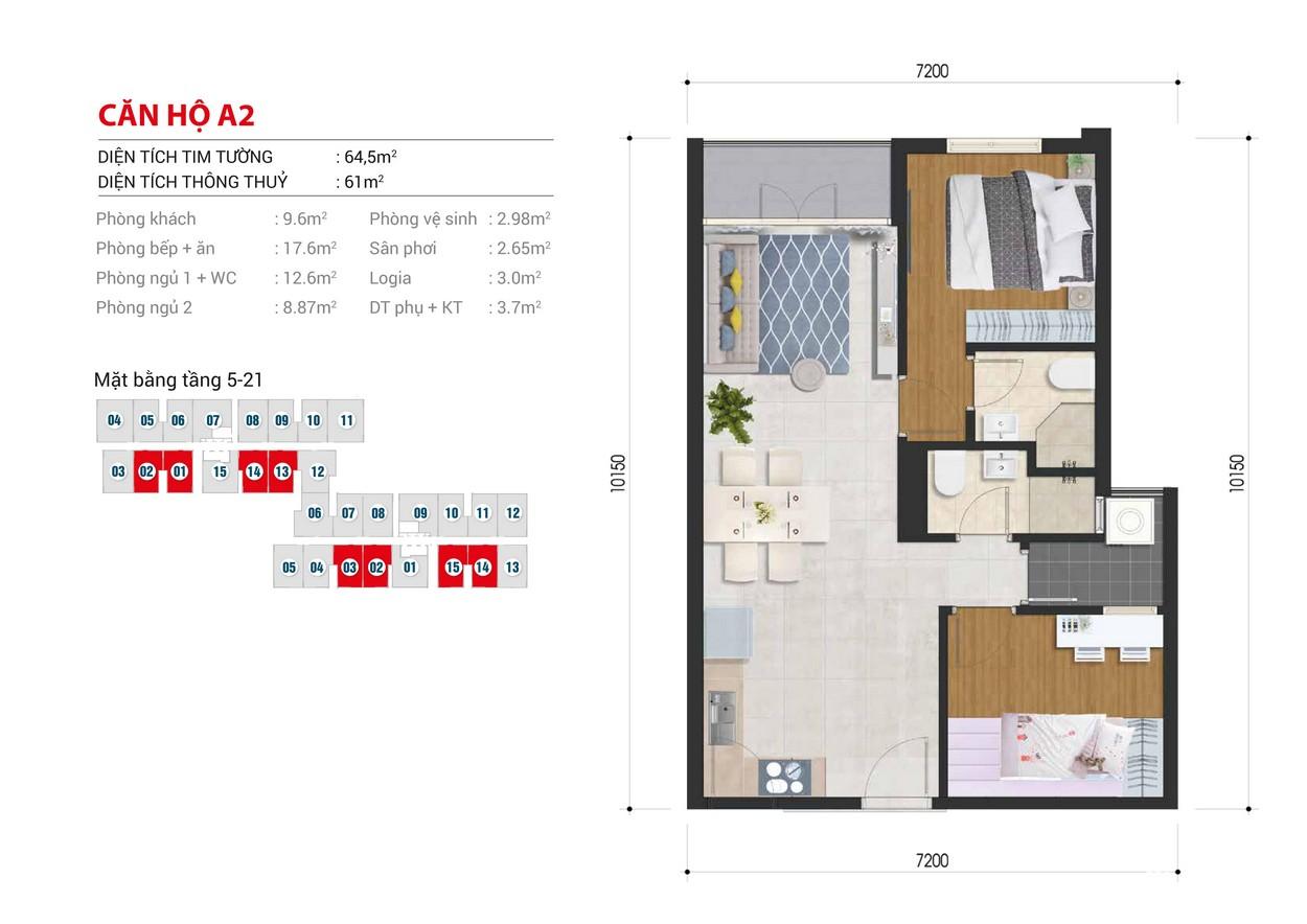 Thiết kế chi tiết căn hộ Block B số: 02,03,14,15 Block A số : 01,02,13,14 diện tích xây dựng 64.5m2