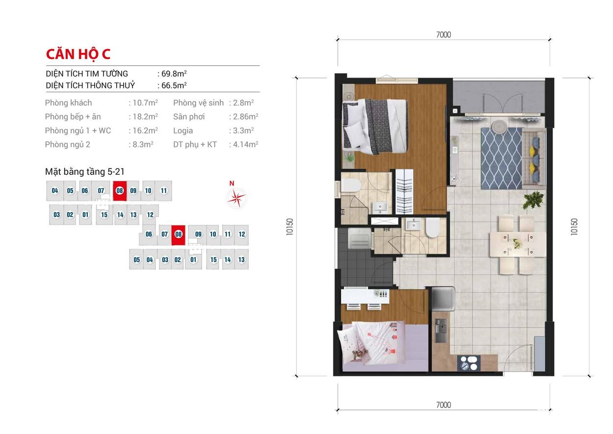 Thiết kế chi tiết căn hộ Block B số: 08 Block A số : 08 diện tích xây dựng 69.8m2