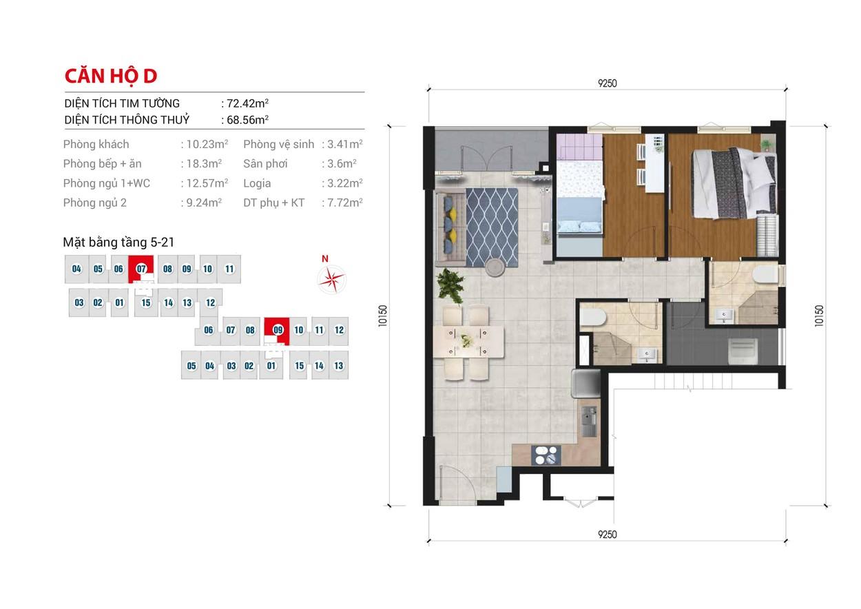 Thiết kế chi tiết căn hộ Block B số: 09  Block A số : 07 diện tích xây dựng 72.4m2