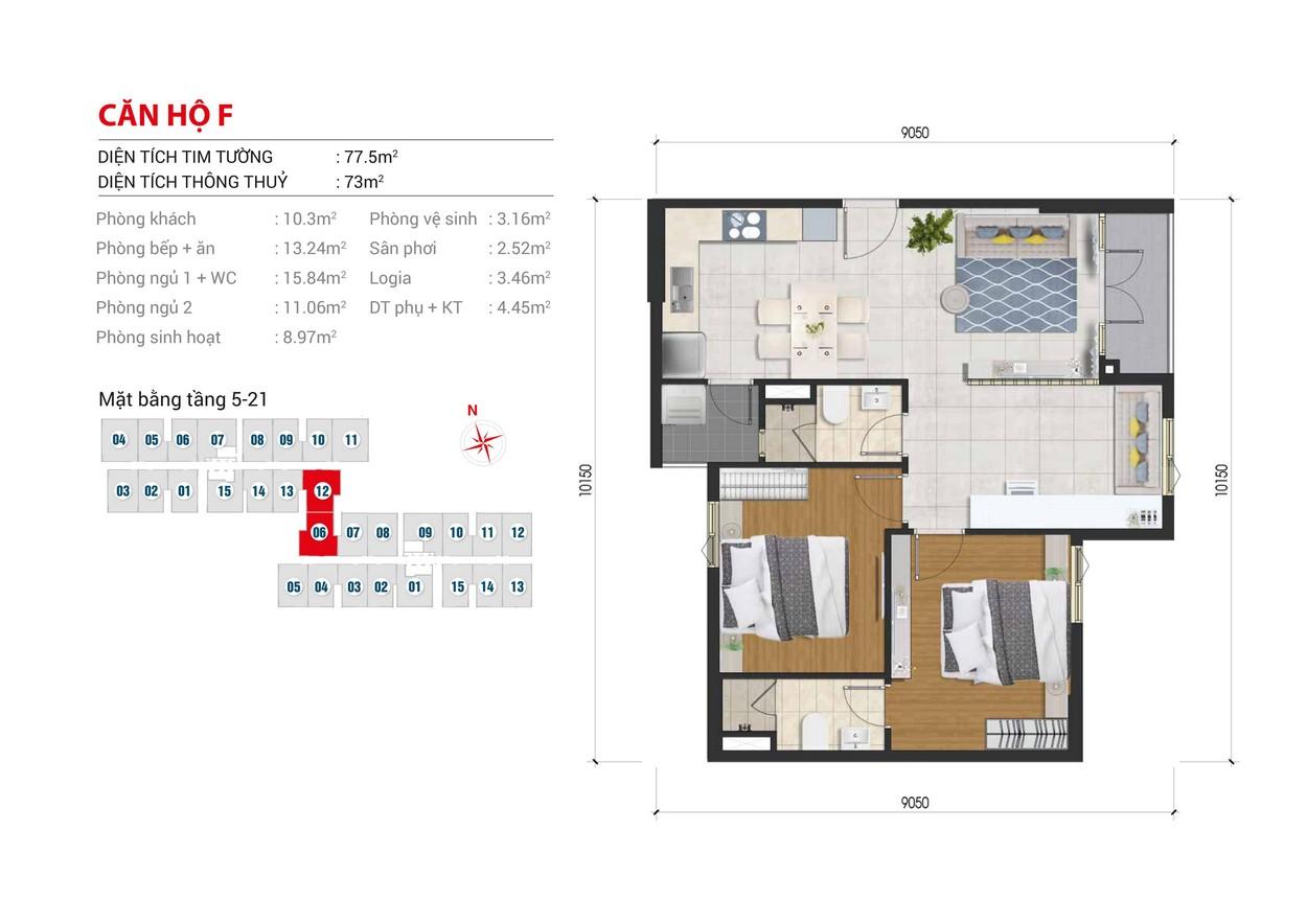 Thiết kế chi tiết căn hộ Block B số: 06  Block A số : 12 diện tích xây dựng 77.5m2