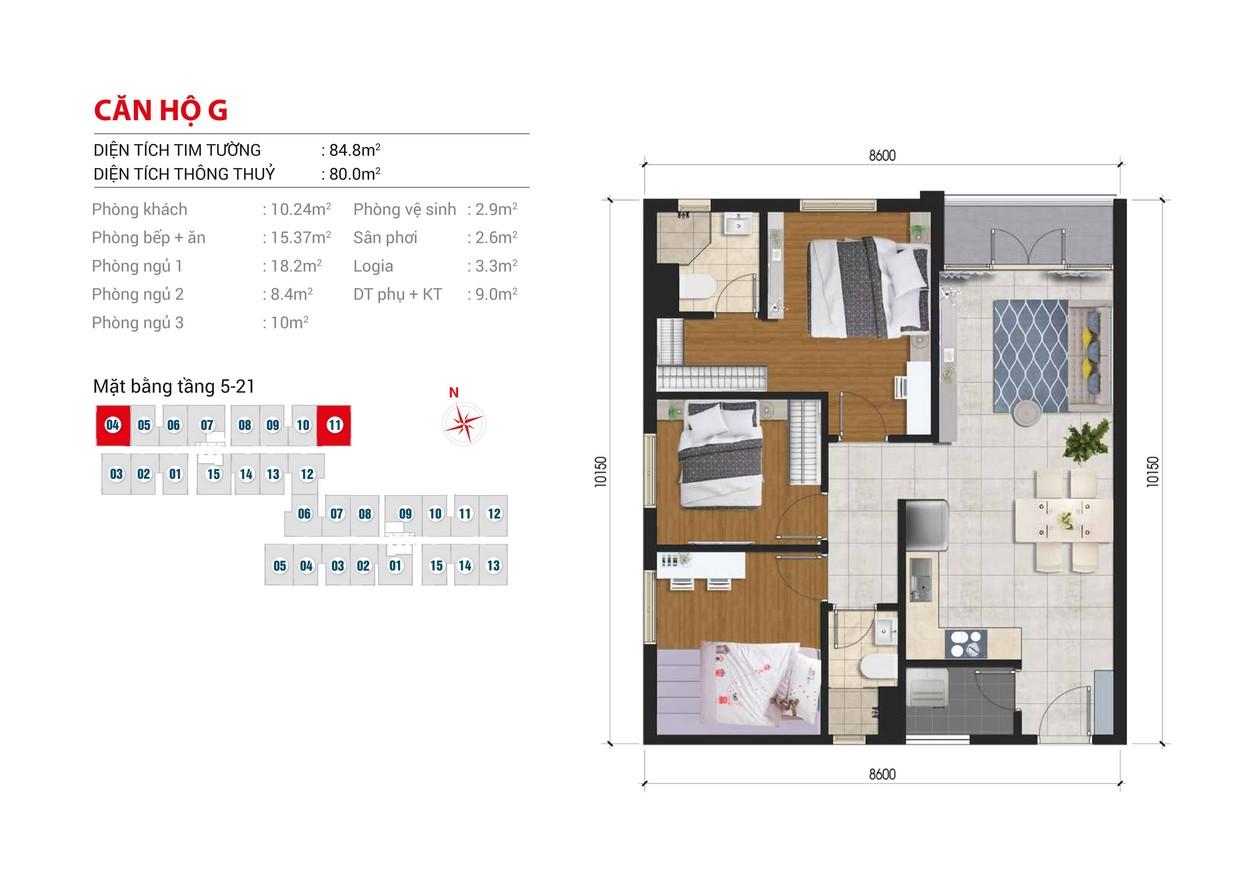 Thiết kế chi tiết căn hộ Block B số:  Block A số : 04,11 diện tích xây dựng 84.8m2