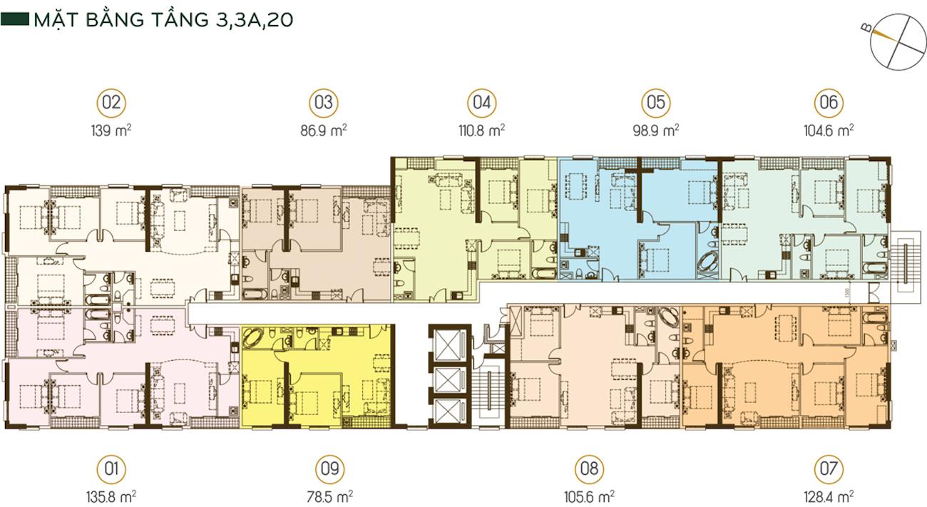 Mặt bằng tầng 3, 3A và tầng 20 (được bố trí 9 căn trên 1 sàn) Diện tích từ 78.5m2 - 139m2.