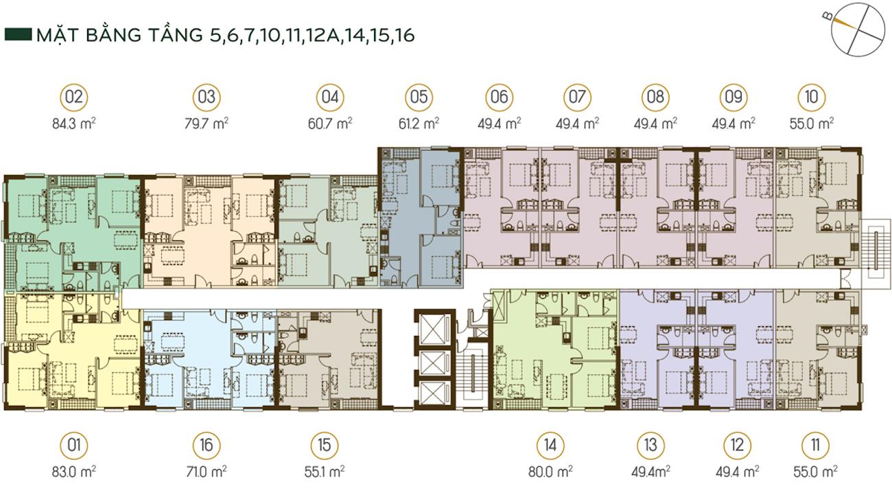 Mặt bằng tầng 5-6-7-10-11-12A-14-15-16 (được bố trí 16 căn trên 1 sàn) Diện tích từ 49.4m2 - 84.3m2.