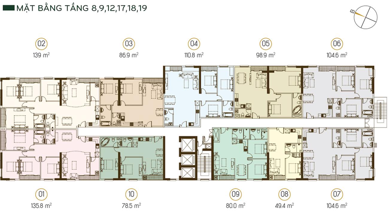 Mặt bằng tầng 8-9-12-17-18-19 (được bố trí 10 căn trên 1 sàn) Diện tích từ 49.4m2 - 139m2, duy nhất chỉ có 1 căn 49.4m2/sàn/tầng.