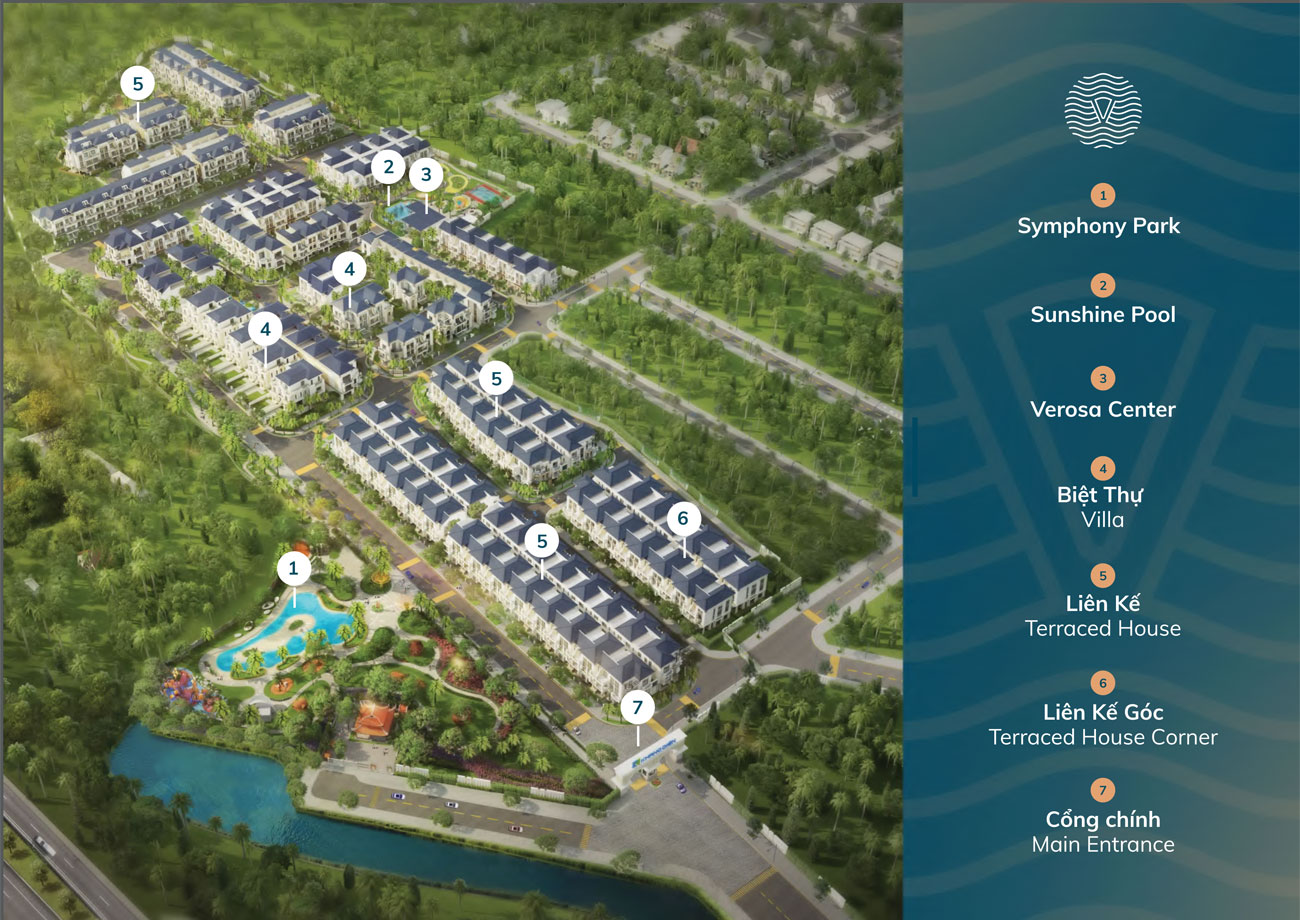 Mặt bằng tổng thể dự án nhà phố biệt thự Verosa Park Quận 9