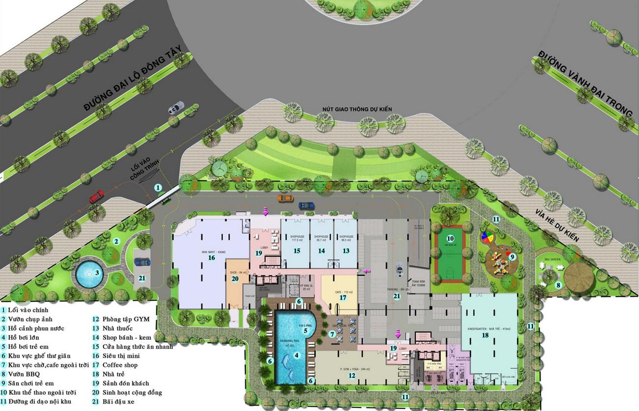 Sơ đồ mặt bằng tiện ích dự án High Intela Quận 8