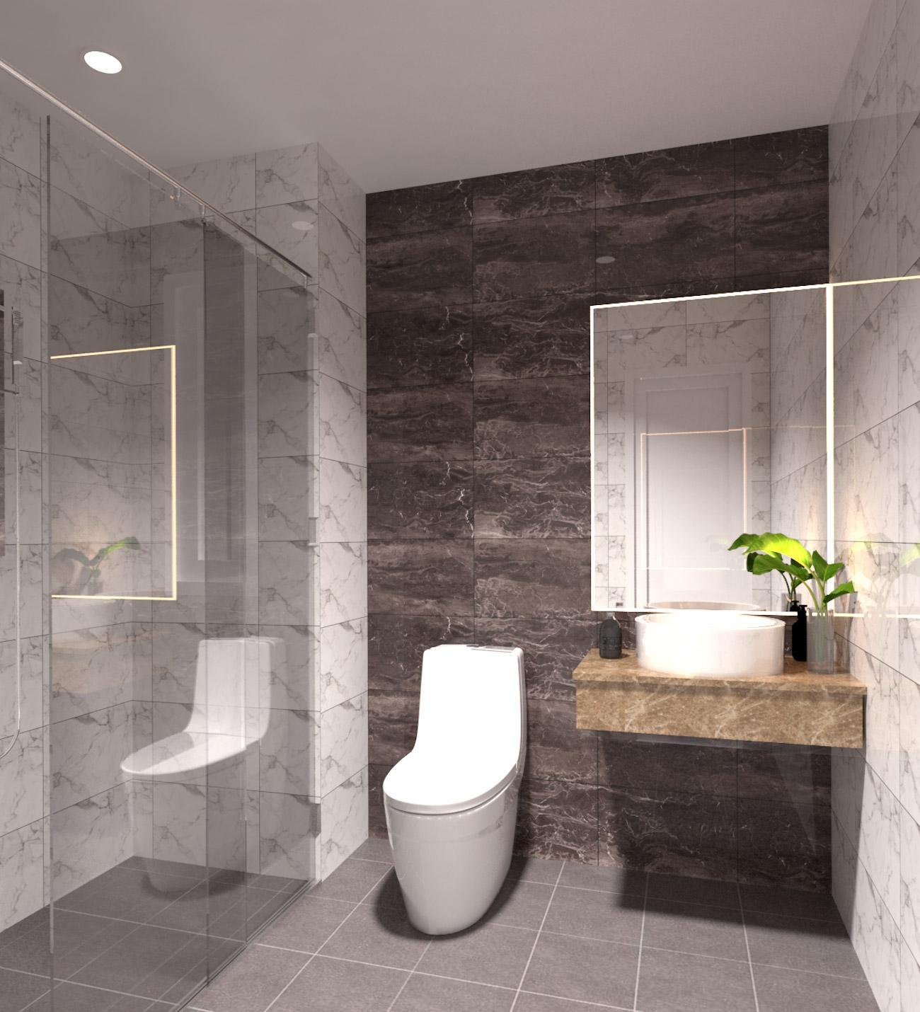Nội thất phòng tắm dự án căn hộ Golden Grand Quận 2 được bàn giao