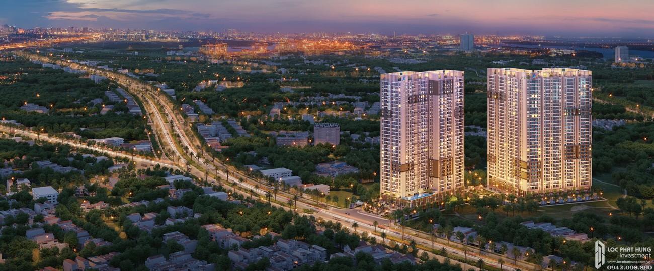 Phối cảnh tổng thể dự án căn hộ chung cư Opal Boulevard Dĩ An Đường Phạm Văn Đồng chủ đầu tư Đất xanh Group