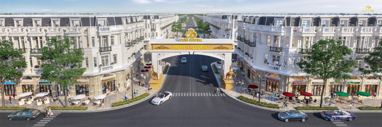 kiến trúc dự án đất nền nhà phố Icon Central Dĩ An Bình Dương chủ đầu tư Phú Hồng Thịnh