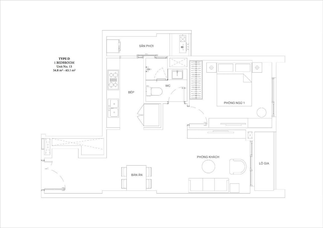 Thiết kế căn hộ 1 phòng ngủ tại Ascent Garden Homes