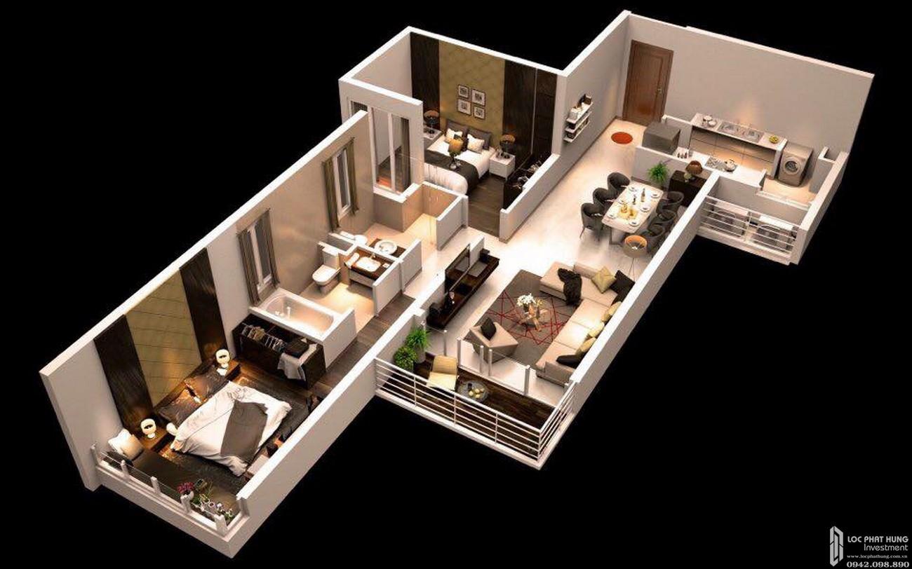 Thiết kế căn hộ 2 PN dự án căn hộ chung cư Canary Heights Thuận An Đường QL 13 chủ đầu tư GuocoLand
