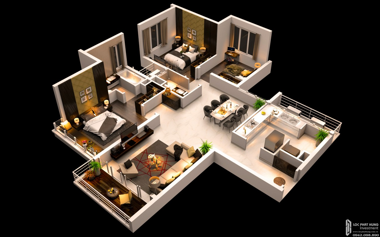 Thiết kế căn hộ 3 PN dự án căn hộ chung cư Canary Heights Thuận An Đường QL 13 chủ đầu tư GuocoLand