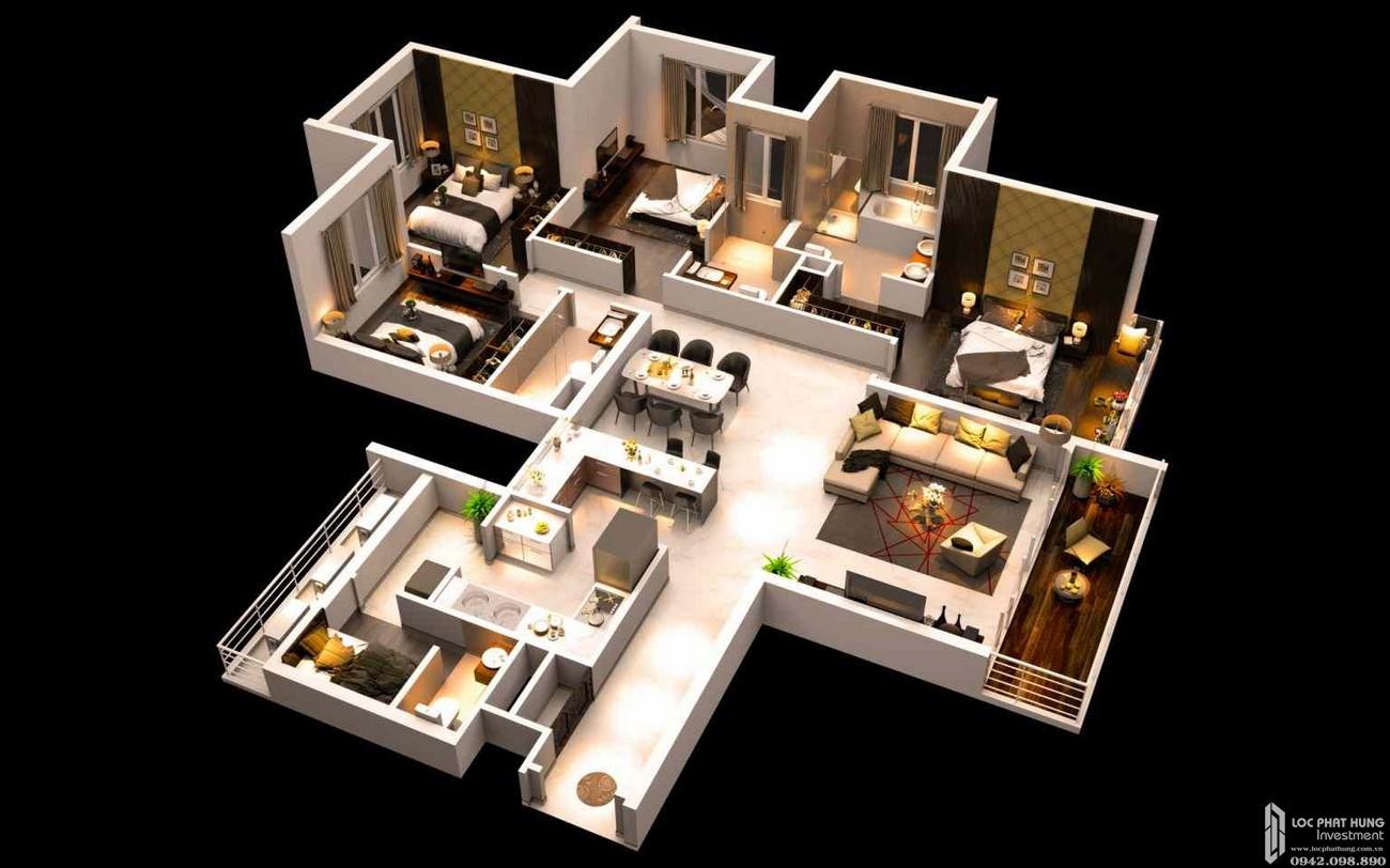 Thiết kế  căn hộ 4 PN dự án căn hộ chung cư Canary Heights Thuận An Đường QL 13 chủ đầu tư GuocoLand