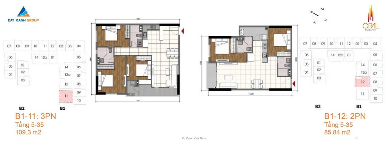 Thiết kế dự án căn hộ chung cư Opal Boulevard Dĩ An Đường Phạm Văn Đồng chủ đầu tư Đất xanh Group