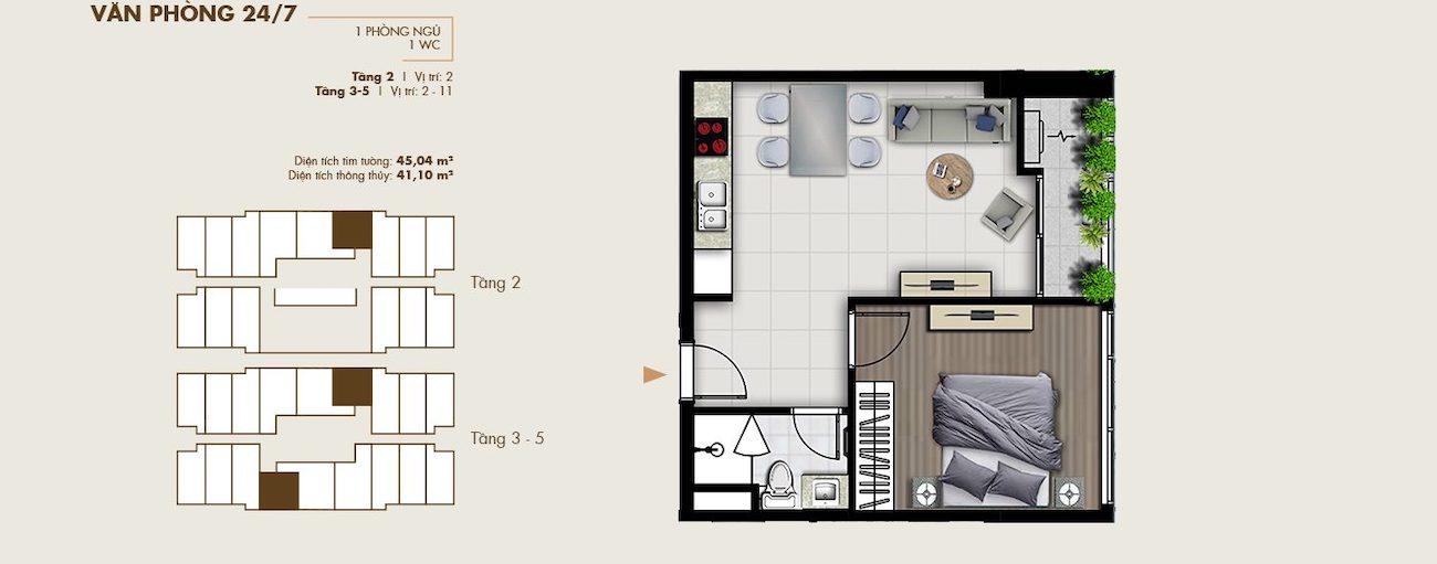 Thiết kế văn phòng thông minh 45 m2