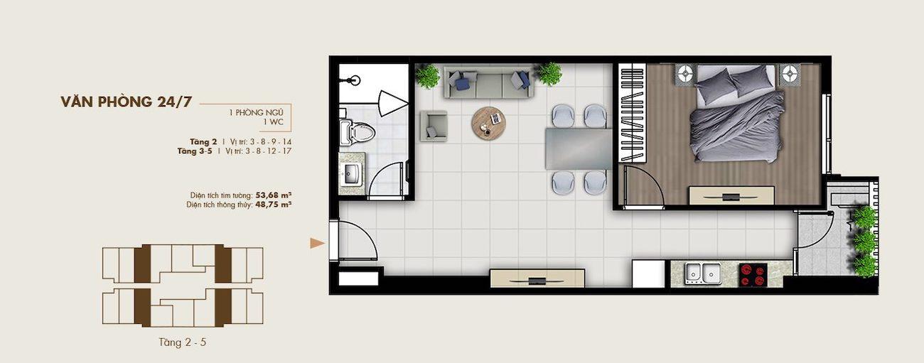 Thiết kế văn phòng thông minh 53 m2