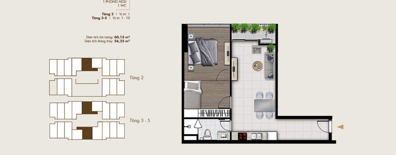Thiết kế văn phòng thông minh 60 m2