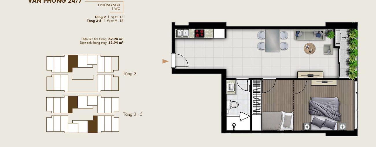 Thiết kế văn phòng thông minh 62 m2