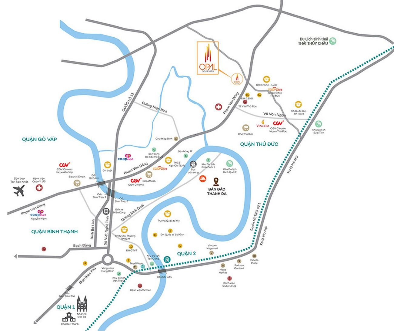 Vị trí địa chỉ dự án căn hộ chung cư Opal Boulevard Dĩ An Đường Phạm Văn Đồng chủ đầu tư Đất xanh Group
