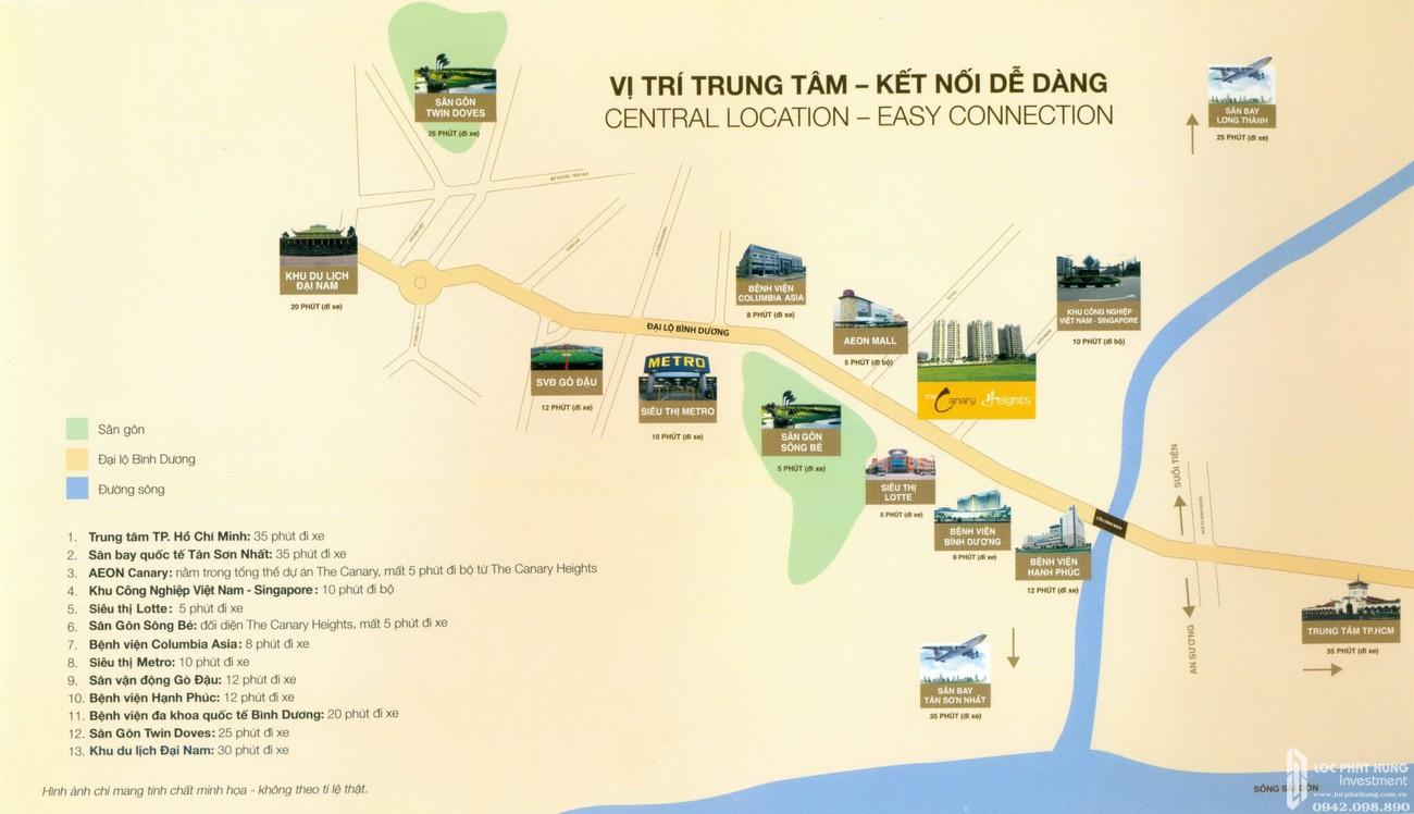 Vị trí địa chỉ dự án căn hộ chung cư Canary Heights Thuận An Đường QL 13 chủ đầu tư GuocoLand