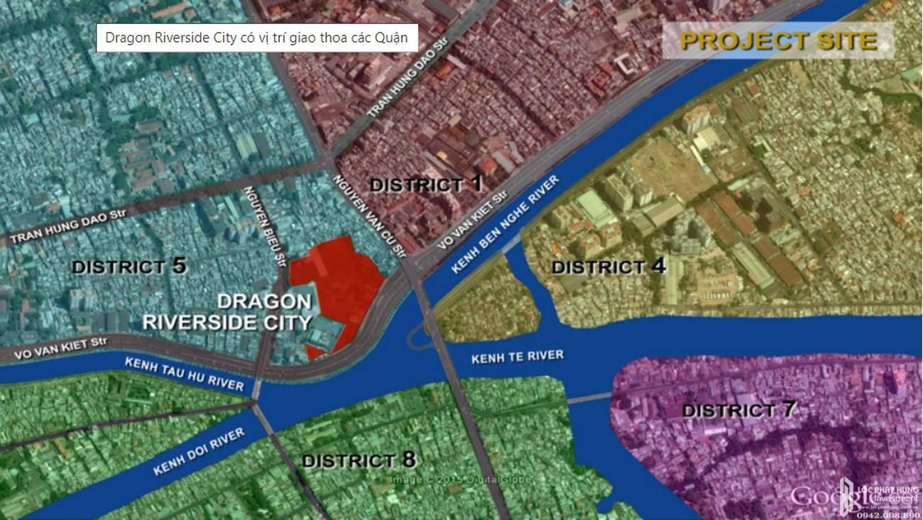Vị trí địa chỉ dự án căn hộ chung cư Dragon Riverside City Quận 5 Đường Võ Văn Kiệt chủ đầu tư Phú Long