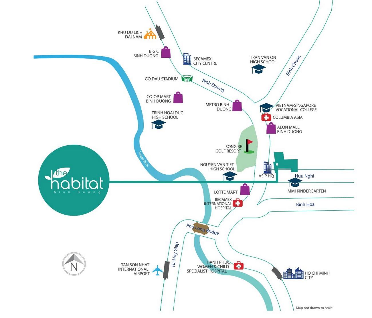 Vị trí địa chỉ dự án căn hộ chung cư Habitat Thuận An Đường Hữu Nghị chủ đầu tư VSIP Sembcorp Gateway