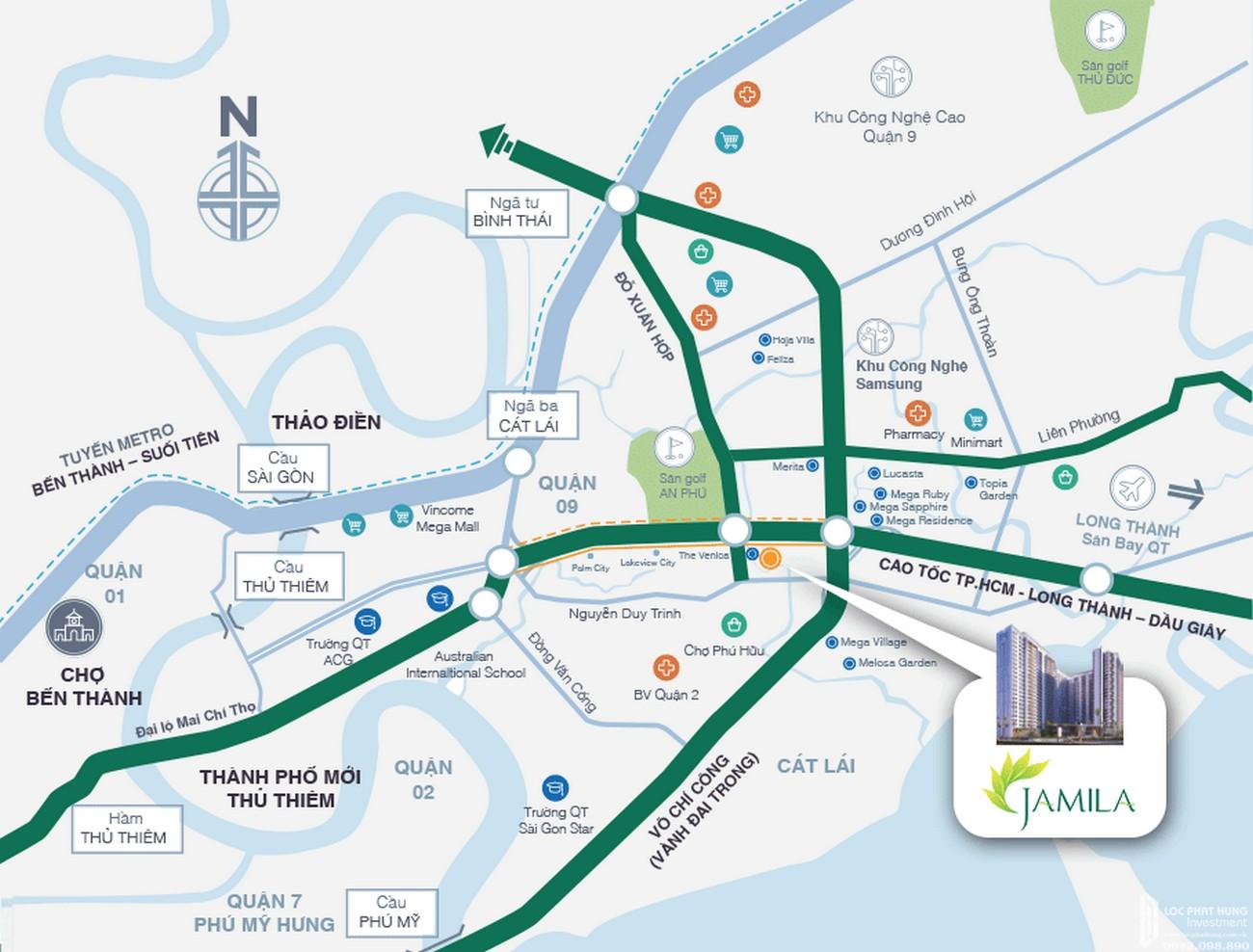 vị trí dự án căn hộ chung cư Jamila Khang Điền Đường Song Hành chủ đầu tư Khang Điền Quận 9