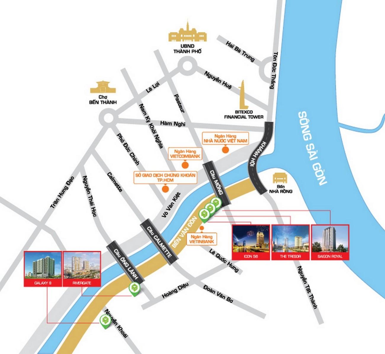 Vị trí địa chỉ dự án căn hộ chung cư The Tresor Quận 4 Đường Bến Vân Đồn chủ đầu tư Novaland