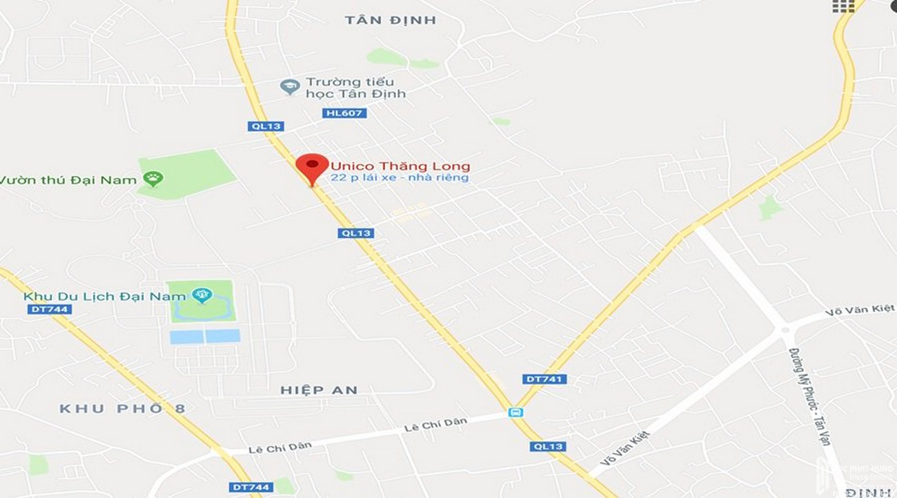 Vị trí địa chỉ dự án căn hộ chung cư Unico Thăng Long Bến Cát Đường QL 13 chủ đầu tư Unico