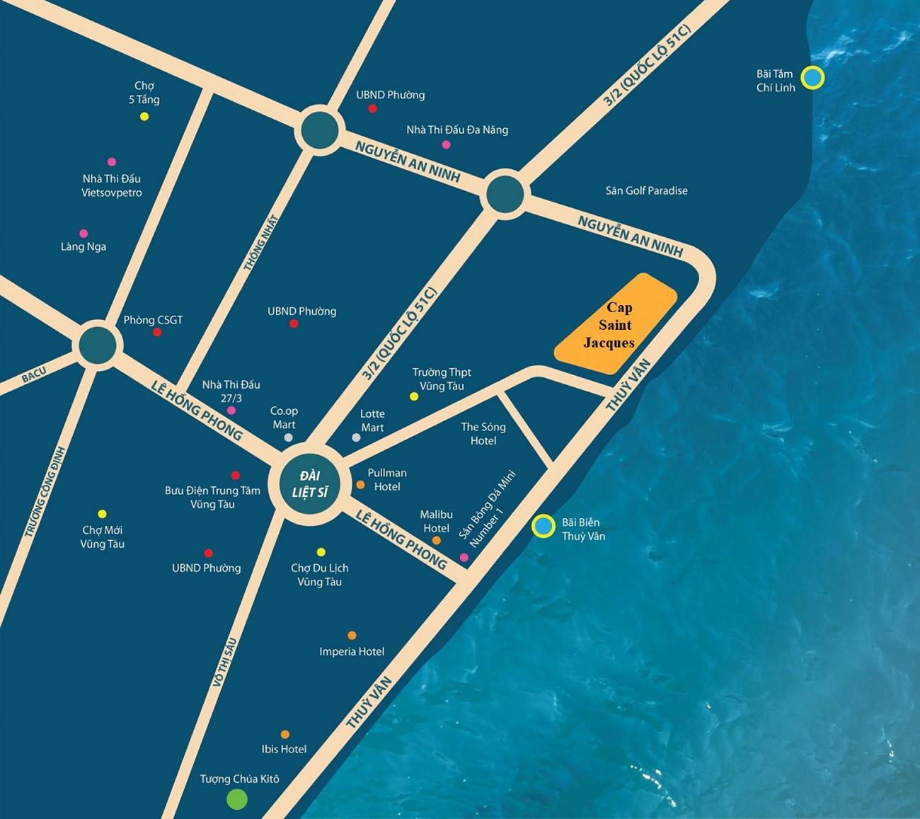 Vị trí địa chỉ dự án căn hộ condotel DIC CSJ Tower Vũng Tàu Đường Thi Sách chủ đầu tư DIC